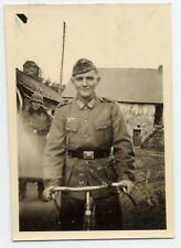 Foto WKII Militär Soldat Wehrmacht Koppel Käppi Fahrrad