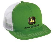 JOHN DEERE *GREEN & WHITE MESH BACK* Traditional Flatbill HAT CAP *BRAND NEW*