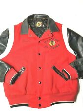 1990 Portland JR. Winterhawks Wool Red White And Black Leather Jacket