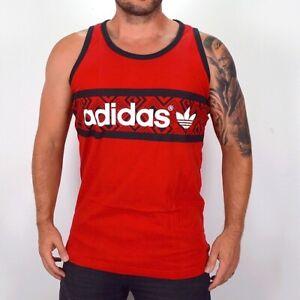 Adidas Trefoil Logo Tank Top Men's Muscle Shirt Ornament Retro Red