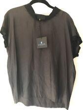 NWT Auth LANVIN Black Top Blouse Short Sleeves MRSP $1050 Sz 38 Sz US 4 S