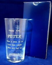 PERSONALISED ENGRAVED PINT GLASS 18th 21st 30th 40th 50th 60th  Birthday Gift