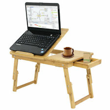 Laptop Desk Height Adjustable Bamboo Computer Desk Folding Serving Bed Tray