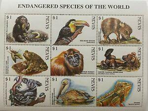 Nevis 1998 - Endangered Species of the World - Sheet of Nine - MNH