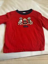 Boys JANIE & JACK LS Double Knit Shirt Red Navy Dogs Christmas Holiday 12-18M