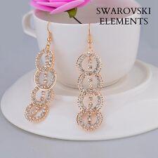 Longues boucles d'oreiilles Swarovski® Elements plaqué or ROSE créoles multiples