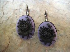 BLACK ROSE ON PURPLE CAMEO LEVER BACK FRENCH EARRINGS!! WONDERFUL QUALITY