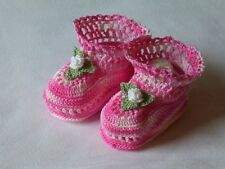 Baby Girl BootiesThread Crochet 0-3 Months Mixed Pinks With White Handmade
