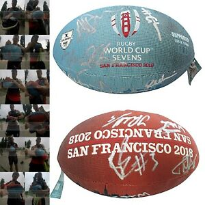 2018 England RWC World Cup Sevens Team Signed Rugby Logo Ball Proof Autograph