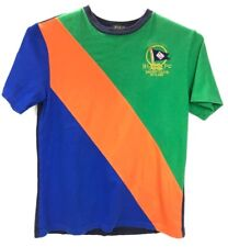 Polo Ralph Lauren Young Mens Shirt Yacht Club Logo Green Orange Blue Size 14/16