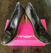 New Fornarina Women's Leather Block Heels - Coffee Brown - 8US/39 Euro