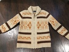 VTG 60's 70's Big Lebowski Pendleton Sweater Zip Up Diamond The Dude Wool