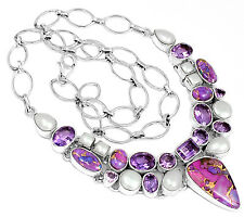 34g Copper Purple Turquoise 925 Sterling Silver Necklace Jewelry SN15679