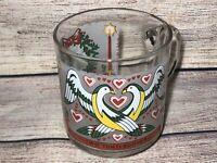 Vintage Luminarc Glass Twelve Days of Christmas Mug Two 2 Turtle Doves