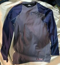 Under Armour Fitted Long Sleeve shirt mens Blue Gray XL Baseball Thermal Layer