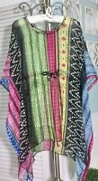 NEW~ Plus Size 3X 2X 1X Black Multi-color Tie Kimono Beach Top Boho Blouse Shirt