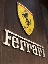 Ferrari Sign  logo color Garage Letters Brushed Silver Aluminum Gift 4 feet