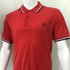 Fred Perry Mens Polo shirt M medium 40 red blue twin tipped regular fit  £65