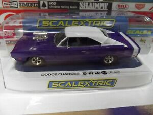 SCALEXTRIC 1:32 PURPLE & WHITE DODGE CHARGER R/T #C4148