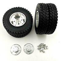 1:14 Scale Dual Rear Wheels Metal Silver To Fit Tamiya Truck 12mm HEX Scania DAF