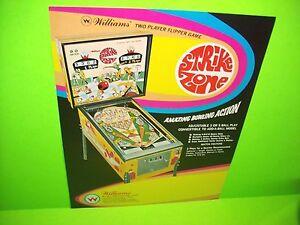 Williams STRIKE ZONE Original 1970 Flipper Game Pinball Machine Promo Sale Flyer