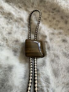 Bolo Tie Lacquered Wood Medallion Western Cowboy Southwest Necklace Rodeo