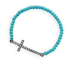 Stackable Turquoise Magnesite Silver Sideways Crystal Cross Stretch Bracelet 7 L