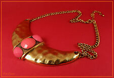 LOVELY GOLD AZTEC / INCA ETHNIC BIB STATEMENT NECKLACE WITH CORAL PINK CABOCHONS