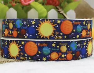 By The Yard  7/8 Inch Printed Planets Sun Space Grosgrain Ribbon Lisa