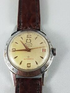Titus Geneva Vintage Automatic Mans  watch ,Military  collector watch ! working