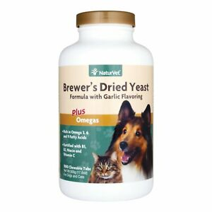 NaturVet Brewers Dried Yeast Formula with Garlic Dogs and Cats 1000 count