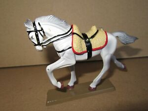 341P Starlux Lead Painted Horse 1er Empire Grey White On Base H 7 CM
