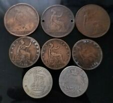 United Kingdom 1866 Sterling Shilling, 1929 50% silver shilling, 6 other coins