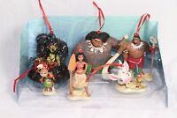 Disney Authentic Moana Christmas Ornaments 6pc Set Maui Pua Heihei Kakamora ,,,