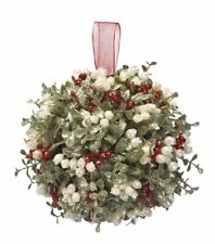 "Kissing Krystals 10"" Holly KISSING BALL Mistletoe Christmas Decor Ornament, Ganz"