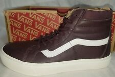 Vans SK8 HI CUP Leather Red Iron Skate Brown/White Shoe Size Men 8 , Women 9.5