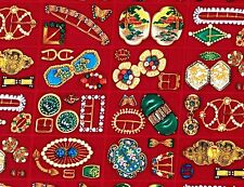 Rare Fabric Cotton Antique Jewelry Art Deco Brooch Pins, quilt/sew Shamash 1/2 Y