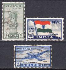 INDIA 1947 INDEPENDENCE JAI HIND SET SCOTT #200-202 USED