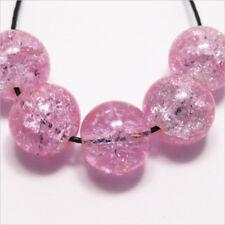 Lot de 10 Perles Craquelées en verre 12mm Rose