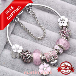Authentic CHARM Bracelet Silver White LOVE with European Charms New
