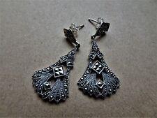 MySilver 925 Sterling Silver & Marcasite Art Deco Long Elegant Drop Earring