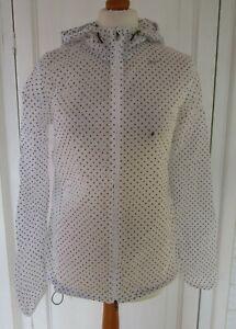 Ladies NIKE White & Black Spotted Waterproof Hooded Jacket M UK 12
