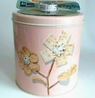 Vintage Blue Magic Krispy Kan Pink Tin Canister Magic Knob 1950s Original Tag