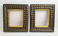 PAIR c1850 American Ebonized DUTCH RIPPLE Folk Primitive Small Picture Frames