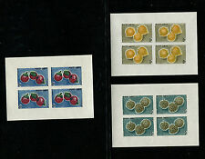 Cambodia 1962 Fruit Food Scott 109-11 Set of Imperf Sheetlets of 4 Never Hinged
