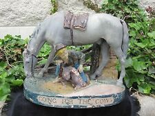 ANTIQUE WESTERN AMERICANA SCULPTURE GOING FOR THE COWS DOG PRAIRIE COWBOY ROGERS