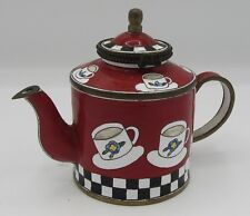 Signed Kelvin Chen 1999 miniature hand painted enamel teapot #454