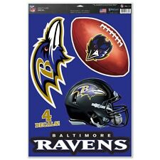 "Baltimore Ravens 11"" x 17"" Multi Use Decals - Auto, Walls, Windows, Cornhole"