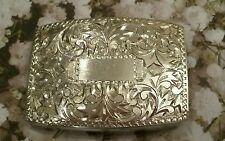 Vintage Floral Design 950 Silver Belt Buckle