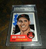 BOB FELLER SIGNED AUTO 1991 TOPPS ARCHIVES BASEBALL CLEVELAND INDIANS PSA/DNA
